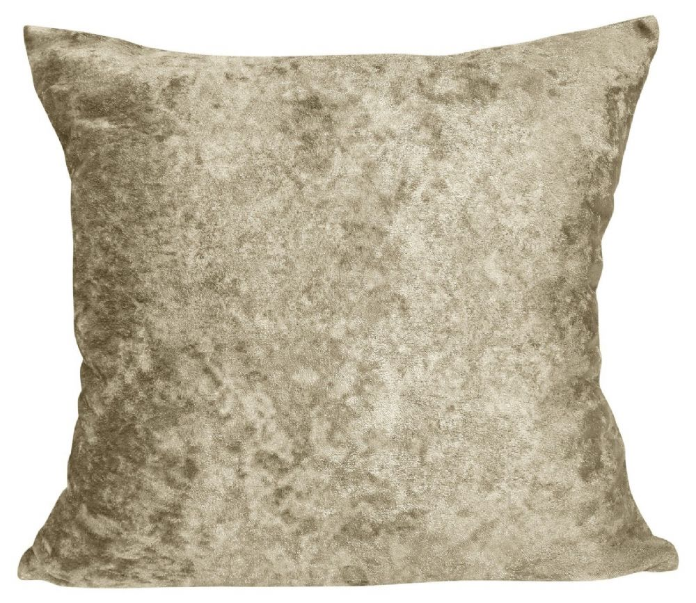 LUXURY CRUSHED VELVET PLAIN  FILLED CUSHION NATURAL COLOUR
